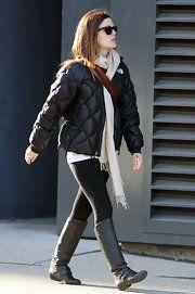 """Rachel Bilson 5'2"""" - Petite style, Puffa Jacket outfit monochromatic"""