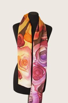 """Image of """"Honey"""" hand-painted silk scarf by Asta Masiulyte"""