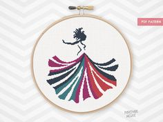 CARNIVAL DRESS counted cross stitch pattern colorful dancing woman bright fashion form silhouette princess girl needlework xstitch pdf by PineconeMcGee