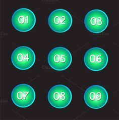 Buttons numbers neon color vector by @Graphicsauthor