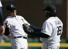 Miguel Cabrera celebrates with Prince Fielder after the Tigers beat the Yankees 8-3 for Opening Day at Comerica Park.
