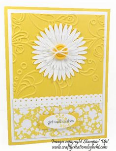 handmade card ... bright yellow and white ... luv the layered multi-petal daisy die ... embossing folder texture and patterned paper ... good basic design ... Stampin' Up!