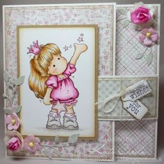 Girly birthday card featuring a buckle fold and using a rubber stamped image of a little Princess from Magnolia