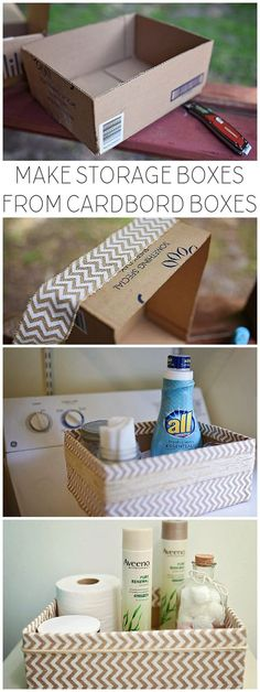 Upcycled Cardboard Boxes Into Storage Boxes - Cardboard Box , Upcycled Cardboard Boxes Into Storage Boxes Upcycled Cardboard Boxes Into Storage Boxes DIY Projects. Cardboard Box Storage, Diy Storage Boxes, Cardboard Crafts, Craft Storage, Cheap Storage, Storage Ideas, Decorative Cardboard Boxes, Diy With Cardboard Boxes, Storage Baskets