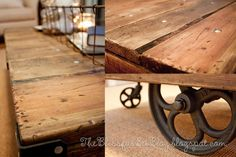 Factory Cart Table DIY { Restoration Hardware Inspired } | The Blissful Bee
