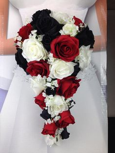 "New Artificial Black, Red and White Wedding Teardrop Bouquet, 15"" in length. Baby's Breath, Red, Black and White Bridal Bouquet"