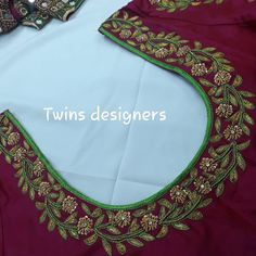 No photo description available. Blouse Designs Catalogue, Best Blouse Designs, Wedding Saree Blouse Designs, Simple Blouse Designs, Blouse Neck Designs, Simple Gown Design, Simple Embroidery Designs, Hand Work Blouse Design, Maggam Works