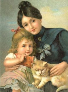 Vintage postcard with mother, daughter, and cat.