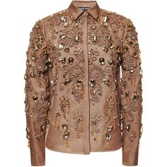 Rochas Camel Embroidered Mikado Shirt ($8,040) ❤ liked on Polyvore featuring tops, long-sleeve shirt, embroidered long sleeve shirts, embroidered shirts, brown long sleeve shirt and long sleeve collared shirts
