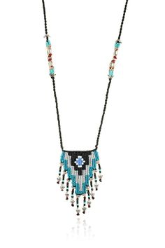 Zoe Kompitsi | Teal Geometric Necklace Pinned by @Manaro Design Jewelry | Beading | Bracelet | Necklace | Earrings
