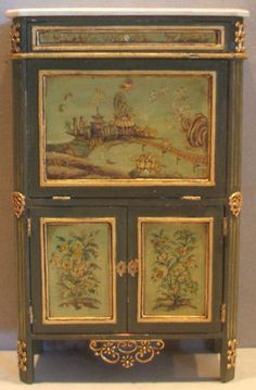 Incredible Miniature Green Chinoiserie Standing Desk in 1/12 scale by Janet Reyburn