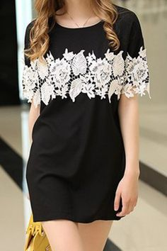 Lace Embroidered Spliced Sweet Scoop Neck Short Sleeve Dress For Women In Stock