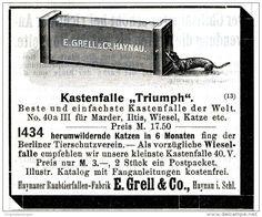 Original-Werbung/ Anzeige 1911 - KASTENFALLE / HAYNAUER RAUBTIERFALLEN - FABRIK GRELL / HAYNAU  - ca. 80 x 65 mm