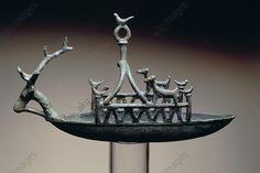 SHIP WITH DEER-SHAPED PROTOME, BRONZE, NURAGIC CIVILIZATION. Ship with a deer-shaped protome, bronze. Nuragic civilisation. Cagliari, Museo Archeologico Nazionale (Archaeological Museum)