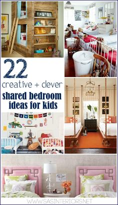 22 Creative and Clever Shared Bedroom Ideas for Kids by @Jenna_Burger, www.sasinteriors.net