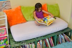Milk Crate Book Storage and Reading Bench Pinned for Kidfolio, the parenting app that makes sharing a snap. Download it free from your app store today. kidfol.io