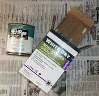 Homemade Chalk Paint Recipe - 2 Tbl of unsanded grout and 1 c. of flat paint (or what you have around if you are going to wax it)