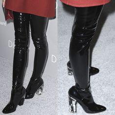 Jaime King Dior latex thigh high boots 2