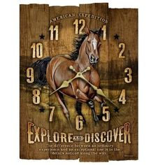 """The Rustic Wooden Wall Clock uses real textured wood with varying length slats to create an incredibly unique wall décor item. The full-color illustrations and graphics combine with the rustic wood to create a great looking clock for any wildlife lover's wall. Each clock measures 11.5"""" x 14.75"""" and requires one AA battery (not included)."""