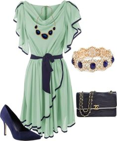 """Mint and Navy"" by regansmith10 on Polyvore"