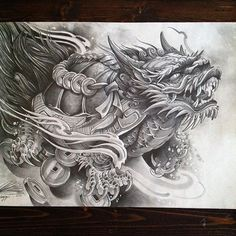 """Pencils on 18x24"""" paper. dragon Turtle, a symbol of Success and Courage. #irezumicollective #worldofpencils email me if you seriously want this piece. Rtc2013@live.com"""