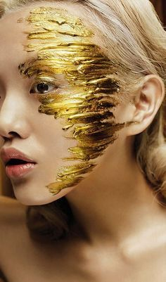 gold leaf on face - Google Search
