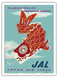 Japan Koinobori Carp Streamer Vintage Airline Travel Art Poster Print | Home & Garden, Home Décor, Posters & Prints | eBay!