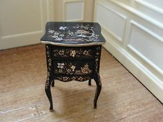 SALE-Dollhouse-Miniature-Hand-Painted-Table-w-Oriental-Theme-Renee-Isabelle
