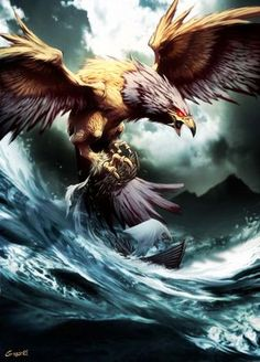 The Ziz is a giant griffin-like bird in Jewish mythology.Some say that the Ziz was created to protect all of the birds and that if the Ziz did not exist, then all the smaller birds on Earth would be helpless and killed.  The Ziz is also an immortal creature that terrified the people that entered its territory and those who killed birds. The Ziz is said to be large enough to be able to block out the sun with its wingspan.