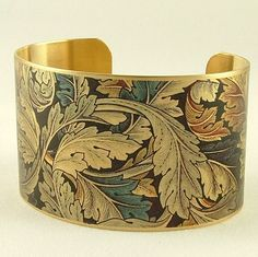 William Morris Acanthus Wallpaper Style Brass Cuff Bracelet - Arts and Crafts Movement. $40.00, via Etsy.
