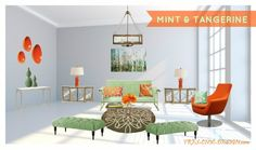 mint and tangerine living room #designideas #décor  #decoratingideas #home