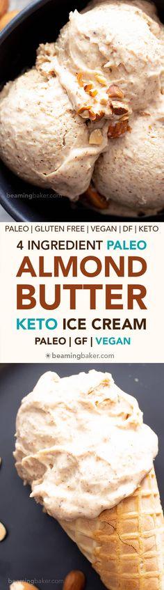 4 Ingredient Paleo Almond Butter Ice Cream (Vegan, Keto, Dairy-Free) – without an ice cream maker! 4 Ingredient Paleo Almond Butter Ice Cream (Vegan, Keto, Dairy-Free) – without an ice cream maker! Blender Ice Cream, Paleo Ice Cream, Ice Cream Maker, Ice Cream Recipes, Paleo Dessert, Healthy Desserts, Dessert Recipes, Healthy Recipes, Granola