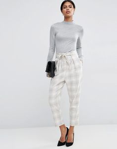 Image 1 of ASOS Check Trouser With Paperbag Waist