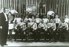 """Photo of Duke Ellington and his Orchestra. On October 6 or 7,1942, the first of many programs for radio were prerecorded at NBC Radio City, Hollywood, Ca.                Duke Ellington and his Orchestra was one first bands to record for this series which came to be known as """"Jubilee"""". The  Master of Ceremonies was Rex Ingram - GMA AFRS-632"""
