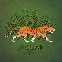 Jaguar - Designed by Kate Sampson, from the Animal Alphabet Series Image size - 7 x 7 inches (with an additional 5mm boarder around this to allow