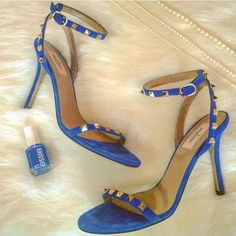 Valentino Rockstud Blue Suede Heels, Size 38 1/2 Authentic. Only worn once. Beautiful blue suede with silver studs. Size 38 1/2. Valentino Shoes Heels