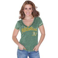 Touch by Alyssa Milano Oakland Athletics Ladies Addison Slim Fit V-Neck Burnout T-Shirt - Green