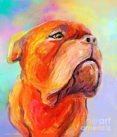 Colorful French Mastiff Bordeaux dog painting by Svetlana Novikova