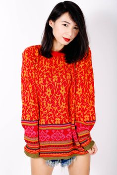 Vintage Jumper with Ethnic Pattern  www.EzzentricTopz.com  #vintage #1980s #fashion #retro
