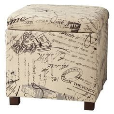 Square Storage Ottoman - Woven Script from target. would go with my throw pillows. My New Room, My Room, Dorm Room, Square Storage Ottoman, Storage Benches, Square Ottoman, Paris Rooms, Paris Bedroom, Bedroom Vintage