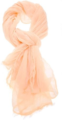 Peach silk blend scarf from Faliero Sarti featuring a sheer finish and a frayed edge