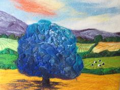Felt art picture wet felted abstract blue tree от SueForeyfibreart