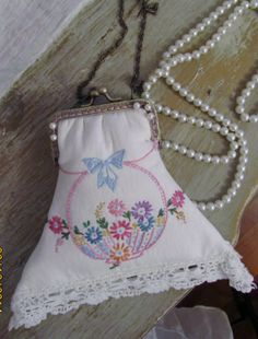 Shabby Elegance Purse, chic Cell Phone Purse, VIntage Doily, Basket of Flowers, Embroidered