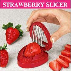 1 pcs Red Color Strawberry Slicer  Plastic Fruit Carving Tools Salad Cutter Berry Stem Leaves Huller Remover