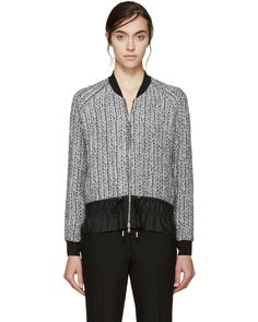 3.1 Phillip Lim | Silver Braided Knit Bomber Jacket | Lyst