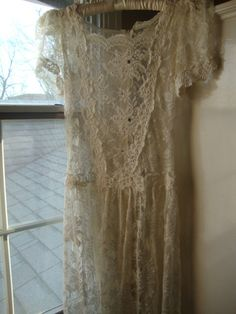 vintage lace dress suitable for wedding gown or by LathandPlaster