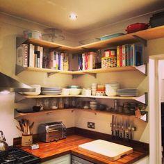 Finished open kitchen shelves