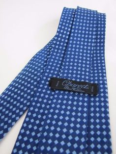 Charvet Place Tie Made in France Woven Silk Jacquard Blue Geometric Diamonds  #Charvet #Tie