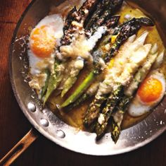 Eggs over asparagus with parmigiano reggiano | gentl + hyers