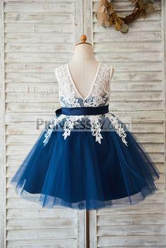 Ivory Lace Navy Blue Tulle Wedding Flower Girl Dress with V Back
